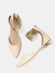 DressBerry Women Beige & Gold-Toned Flat Shoes
