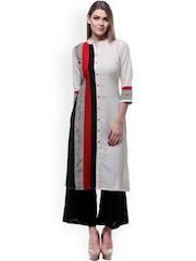 Varanga Off-White & Black Printed Kurta with Palazzo Trousers