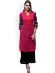 Varanga Pink & Black Printed Kurta with Palazzo Trousers