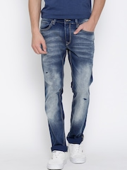 Pepe Jeans Navy Low-Rise Washed Vapour Fit Jeans