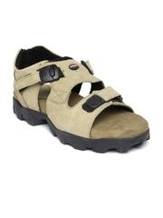 Woodland Men Camel Brown Leather Sandals