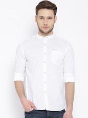 Flying Machine White Printed Casual Shirt