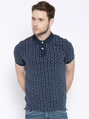 Flying Machine Navy Micro Print Polo T-shirt
