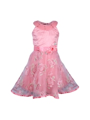 CUTECUMBER Girls Pink Printed Fit & Flare Dress