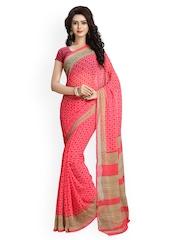 Vaamsi Pink Chiffon Printed Saree