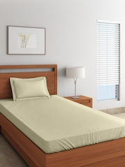 SPACES Beige 300 TC Cotton Single Bedsheet with 1 Pillow Cover