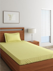SPACES Yellow 300 TC Cotton Single Bedsheet with 1 Pillow Cover