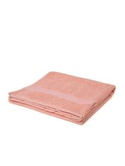 WELHOME Unwinders Peach-Coloured Cotton Bath Towel