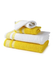 SPACES White & Yellow 100% Cotton Set of 4 Towels