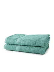 WELHOME Sea Green 100% Cotton Set of 2 Bath Towels