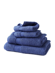 WELHOME Blue Cotton Set of 4 Towels