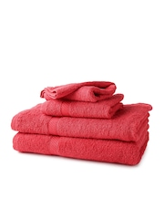 WELHOME Red 100% Cotton Set of 4 Towels