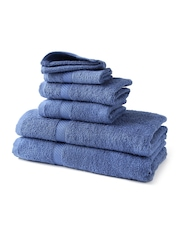 WELHOME Blue 100% Cotton Set of 6 Towels