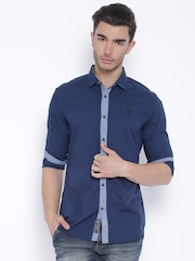 Being Human Clothing Navy Slim Fit Casual Shirt