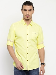 Being Human Yellow Slim Fit Casual Shirt