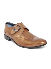 Louis Philippe Men Tan Brown Genuine Leather Monks
