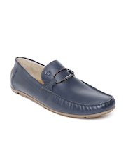 Louis Philippe Men Navy Leather Loafers