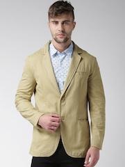 Mast & Harbour Khaki Over-Dyed Single-Breasted Blazer