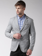 Mast & Harbour Grey Over-Dyed Single-Breasted Blazer