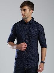 HRX by Hrithik Roshan Navy Printed Casual Shirt