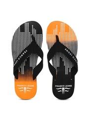 Franco Leone Men Black & Orange Printed Flip-Flops