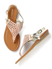 DressBerry Women Dusty Pink & Muted Gold-Toned Cut-Out Flats