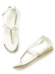 DressBerry Women White & Gold-Toned Flats