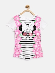 Mickey by Kids Ville Girls White Floral Print Top