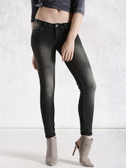 Roadster Black Washed Skinny Fit Jeans