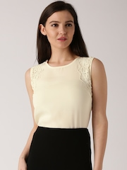 DressBerry Cream-Coloured Sheer Polyester Top