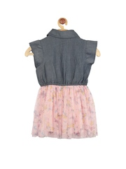 My Lil Berry Girls Grey & Pink Denim Fit & Flare Dress