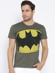 Batman Olive Green Logo Print T-shirt