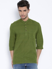 indus route by Pantaloons Olive Green Short Kurta