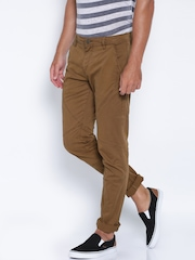 ROUTE 66 Brown Slim Fit Trousers