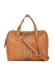 Caprese Brown Cut-Work Handbag
