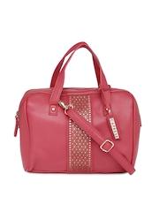 Caprese Dark Pink Cut-Work Handbag