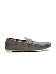 Carlton London Men Taupe Perforated Loafers