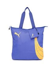 PUMA Women Blue Printed Fundamentals ShopperTote Bag