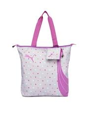 PUMA Women Grey Polka Dot Print Tote Bag
