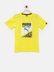 PUMA Boys Yellow Printed T-shirt