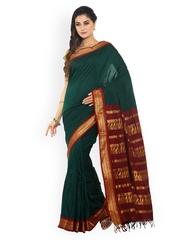 Sudarshan Silks Green & Maroon Cotton & Art Silk Traditional Saree