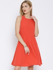 Vero Moda Orange Fit & Flare Dress