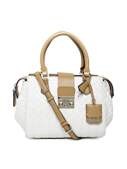 GUESS White Quilted Handbag with Sling Strap