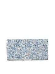 GUESS Women Blue Denim Wallet with Woven Branding