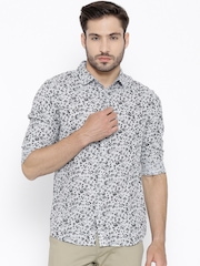 United Colors of Benetton Grey Floral Print Linen Casual Shirt