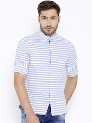 United Colors of Benetton Blue Striped Casual Shirt