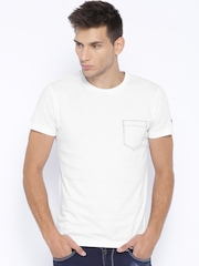 John Players Jeans White Printed Slim Fit T-shirt