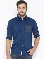 American Swan Blue Dobby Smart Fit Casual Shirt