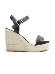 Carlton London Women Black Braided Wedges