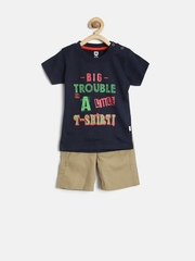 Baby League by 612 League Boys Navy & Brown Printed Clothing Set